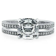 BERRICLE Sterling Silver Cushion CZ Solitaire Engagement Ring Set 2.28 Carat