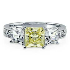 BERRICLE Sterling Silver Princess Canary Yellow CZ 3 Stone Engagement Ring