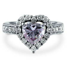 Silver Heart Shaped Purple Cubic Zirconia CZ Halo Engagement Ring 2.43 CT