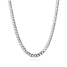 BERRICLE Italian Sterling Silver Flat Curb Chain Necklace 5mm