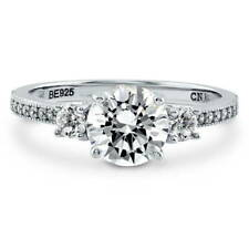 BERRICLE Sterling Silver Round Cut CZ 3-Stone Promise Engagement Ring 1.59 Carat