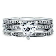 BERRICLE 925 Silver Heart Shaped CZ  Solitaire Engagement Ring Set 1.3 Carat