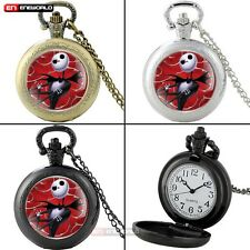 Nightmare Before Xmas Vintage Quartz Pocket Watch Gift Necklace Chain Skeleton
