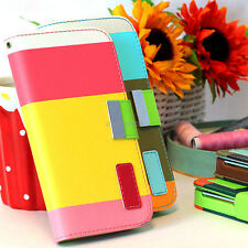For HTC One M7 Colorful Hybrid PU Leather Wallet Flip Pouch Case Cover w/Stand