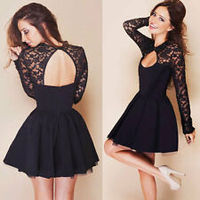 Hot Women Long Sleeve Sexy Lace Backless Evening Party Bodycon Mini Skater Dress