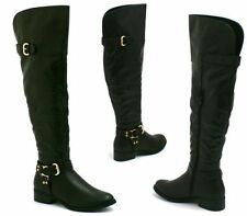 Ladies Womens Flat Over The Knee Thigh High Metal Trim Riding Biker Boots Shoes