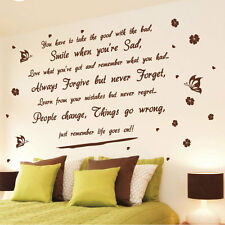 Life Goes On wall art quote stickers butterfly flower wall decals wall decor