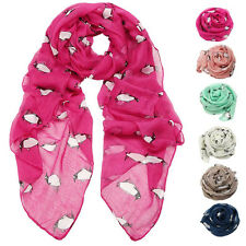 Fashion Womens Scarf Voile Penguin Print Shawl Rectangle Long Neck Scarves Wrap