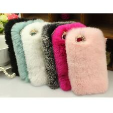 Hot Fluffy Bling Crystal Luxury Faux Rabbit Fur Decor Case For iPhone 6s 6 Plus