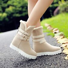Awesome faux suede womens hidden wedge pull on buckle strap casual ankle boots