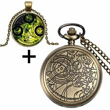 Bronze Doctor Who Time Lord Seal Necklace Charm Pocket Watch Chain With Gift Box