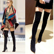 Womens High Heel Stiletto Pointy Toe Over Knee High Boot Side ZIp Court Shoes