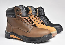 Mens Size 7 - 11 Leather Steel Toe Cap Safety GROUNDWORK Work Boots Lace Up