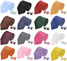 HIGH QUALITY MENS WOVEN SILKY SATIN TIES 30 COLOURS MATCHING CUFFLINKS AVAILABLE