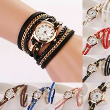 Personalised Womens Girls Fashion Leather Chain Bracelet Wrist Watches PUNK Часы