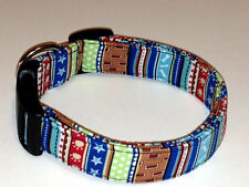 Charming Blue, Red, Brown Stripe with Dog Bones, Paws & Stars Dog Collar