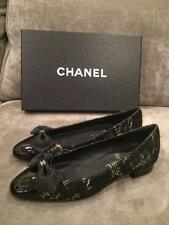 CHANEL 15K Tweed Patent Leather Bow Ballerina Ballet Flats Shoes Black $850