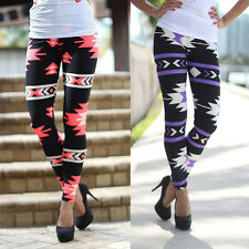 Womens Slim Leggings Print Stretchy Casual Skinny Leggings Pencil Pants Trousers