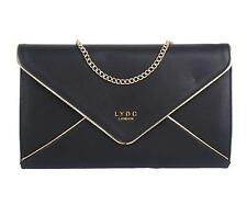 LADIES LYDC ENVELOPE EVENING CLUTCH BAG FAUX LEATHER SHOULDER HANDBAG