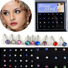 24X Wholesale Lot Fashion Rhinestone Nose Ring Bone Stud Body Piercing Jewelry