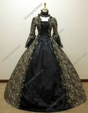 Renaissance Gothic Black Floral Dress Gown Theater Witch Halloween Costumes 138