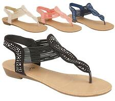 Ladies Gladiator Sandals New Womens Flat Strappy Diamante Summer Beach Shoes 3-8