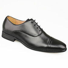 Mens Gents New Black Leather Lined Lace Up Toe Capped Smart Suit Shoes 7 - 12