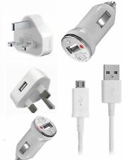 USB Mains Charger, Car Charger & Micro USB Cable For Various Mobile Phone Models