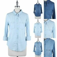 Denim Chambray Shirt Long Roll Up Sleeve Button Down Chest Pockets Cotton S M L