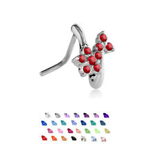 316L Surgical Steel L Bend Nose Stud Ring Flower CZ Nose Hugger 20 Gauge 20G