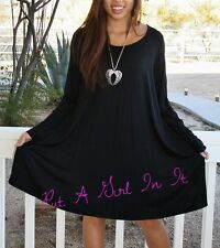 PLUS SIZE LITTLE BLACK BOHO BABYDOLL with POCKETS FULL SKIRT MINI DRESS 1X 2X 3X
