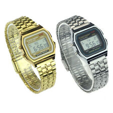 Classic Retro Style Gold Silver Women Digital Metal LCD Men Vintage Wrist Watch