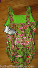 NEW GK ELITE GYMNASTICS LEOTARD SIZE ADULT SMALL A/S GIRLS NWT LIME GREEN PINK S