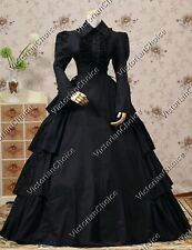 Gothic Victorian Black Dress Gown Steampunk Theater Reenactment Clothing 007
