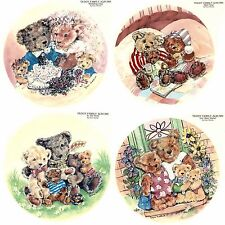 4 Teddy Bear Family Select-A-Size Ceramic Waterslide Decals Xx