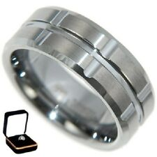 8MM *CROSS* TUNGSTEN CARBIDE WEDDING BAND RING w/VELVET RING BOX # 8,9,10,11,12