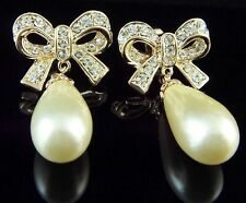 18K yellow gold GP clear swarovski crystal zircon butterfly pearl earring stud