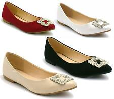 WOMENS LADIES DIAMANTE BALLET PUMP SHOES DOLLY FLAT POINT PARTY BALLERINA BRIDAL
