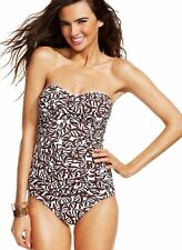 NWT Anne Cole Slimming Ruched Falling Leaves Bandeau One-Piece Swimsuit Sz 6, 14