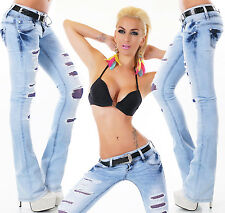 Sexy Women's Low Cut Hipster Bootcut Jeans Blue Lace Jeans Trousers + Belt 6-14
