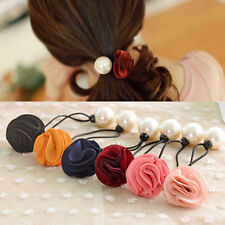Lady Girl Fashion Pearl Rose Flower Hair Band Rope Scrunchie Ponytail Holder Lot