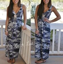 PRETTY YOUNG THING BLACK WHITE ANIMAL PRINT CLEAVAGE BOHO MAXI SUNDRESS DRESS M