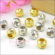 25Pcs Copper Spacer Beads 6mm,Hole 3mm, Silver Plated Or Golden R5117