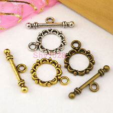 8Sets Tibetan Silver,Antiqued Gold,Bronze Flower Connector Toggle Clasps M1391