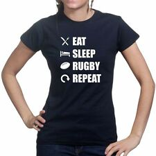 Eat Sleep Rugby Repeat Union League World Cup New Ladies T shirt T-shirt Top
