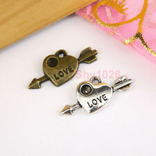 15Pcs Tibetan Silver,Antiqued Bronze Arrow Love Heart Charms Pendants M1583