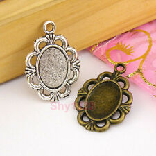 6Pcs Tibetan Silver,Antiqued Bronze Oval Pictures Frame Charms Pendants M1591