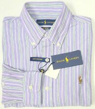 NWT $98 Polo Ralph Lauren LS KNIT Mesh Oxford Style Shirt Mens Purple L XL NEW