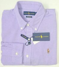 NWT $98 Polo Ralph Lauren LS Knit Mesh Oxford Style Shirt Mens L Purple NEW