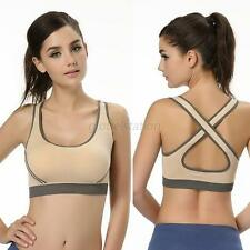 Women Athletic Vest Top Gym Sports Yoga Stretch Fitness Racerback Padded Bra SML